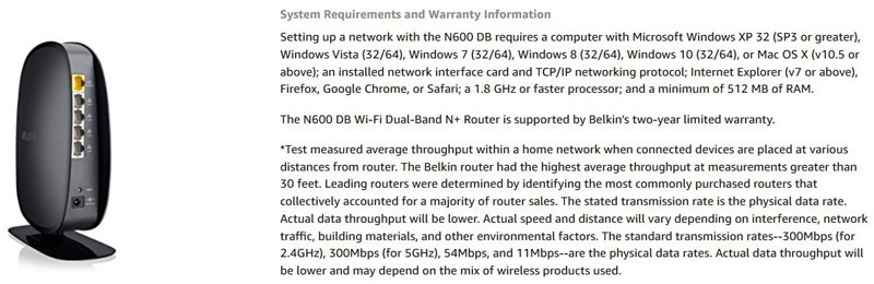 Belkin N600 System Requirements