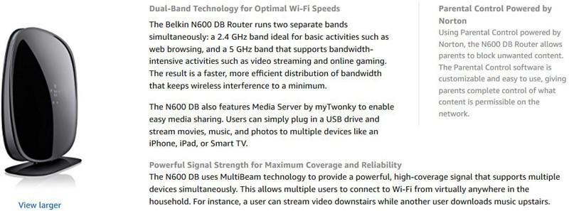 Belkin N600 Wireless Dual-Band Technology