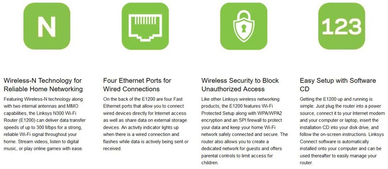 Linksys E1200 N300 Wi-Fi Wireless Router Features