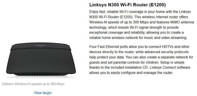 Linksys E1200 N300 Wi-Fi Wireless Router