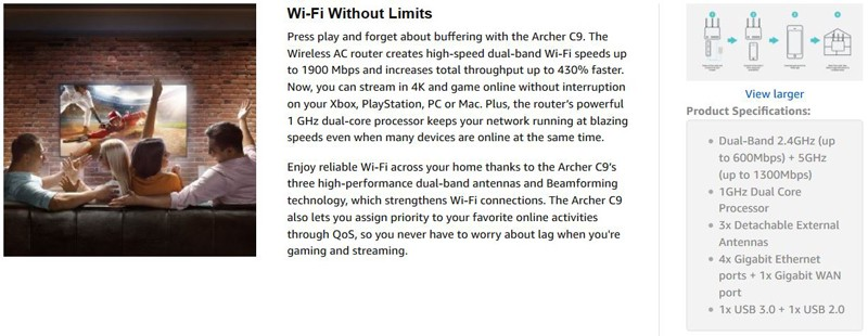 TP-Link AC1900 Archer C9 Specifications