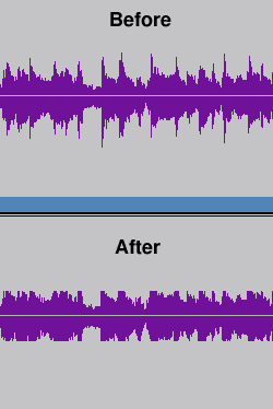 Compression with guitar pedal before and after
