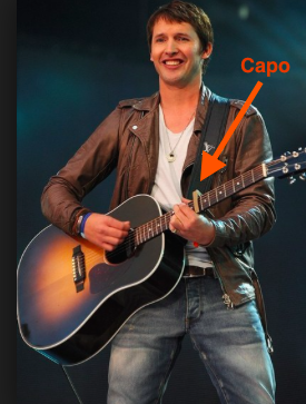 James Blunt with a guitar capo