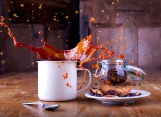 coffee splashing in a cup